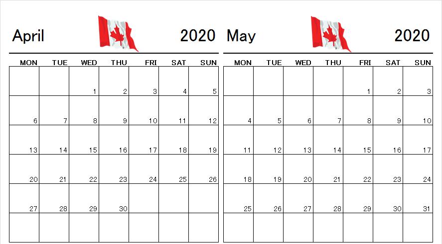 April May 2020 Calendar Canada