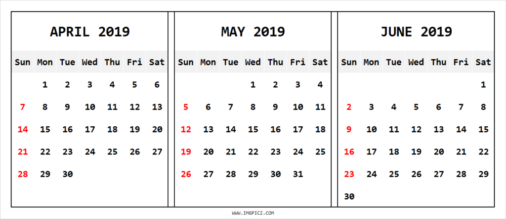 April May June 2019 Calendar Template