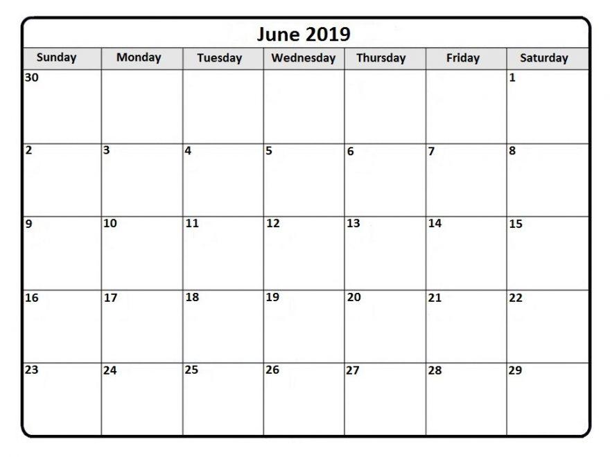 Blank Calendar Template June 2019 Free Printable Calendar