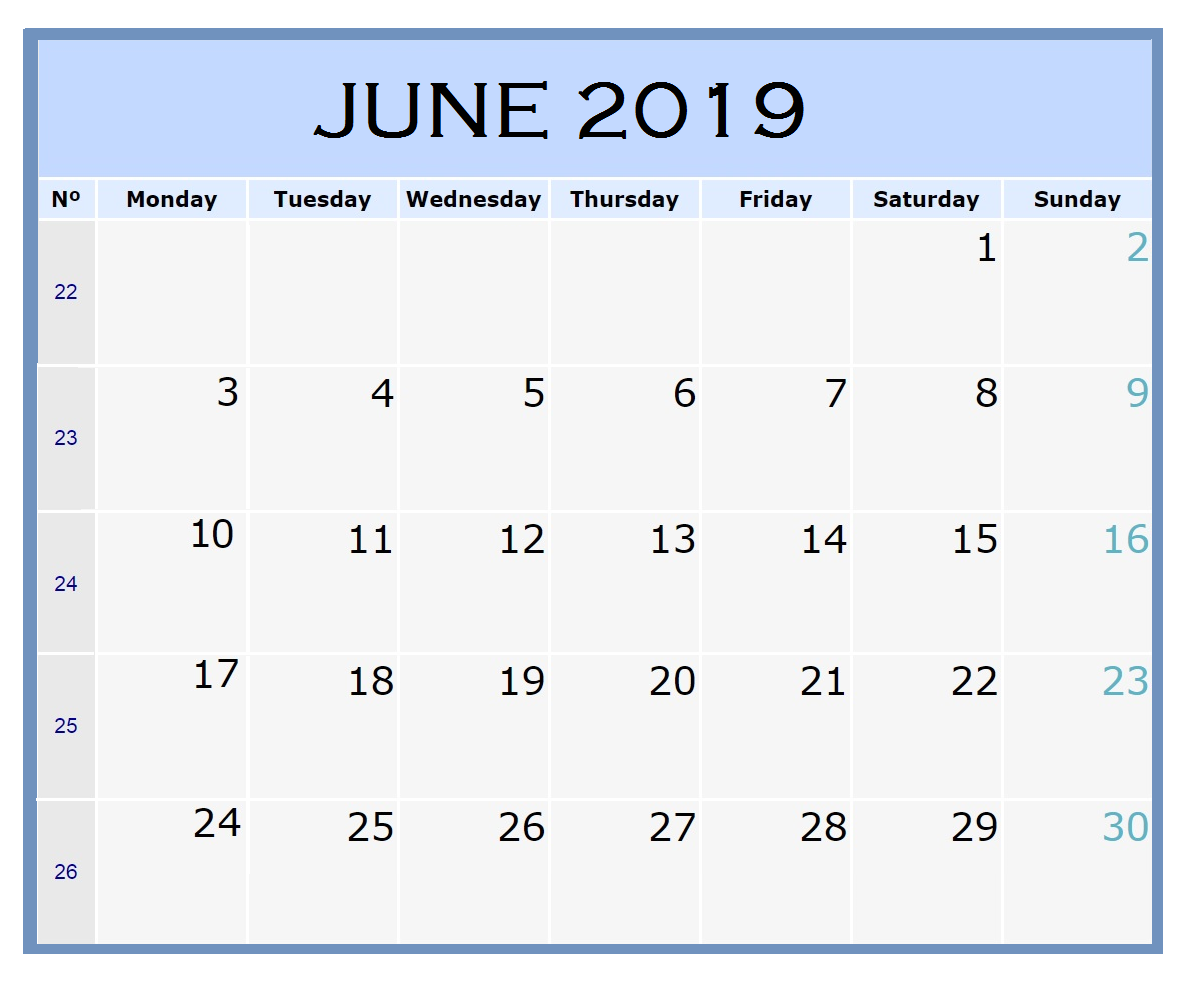 FREE PRINTABLE JUNE 2019 CALENDAR WORD - June 2019 Calendar