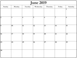 Blank June Calendar 2019 Printable