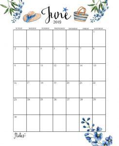 Blank June Calendar 2019 Templates