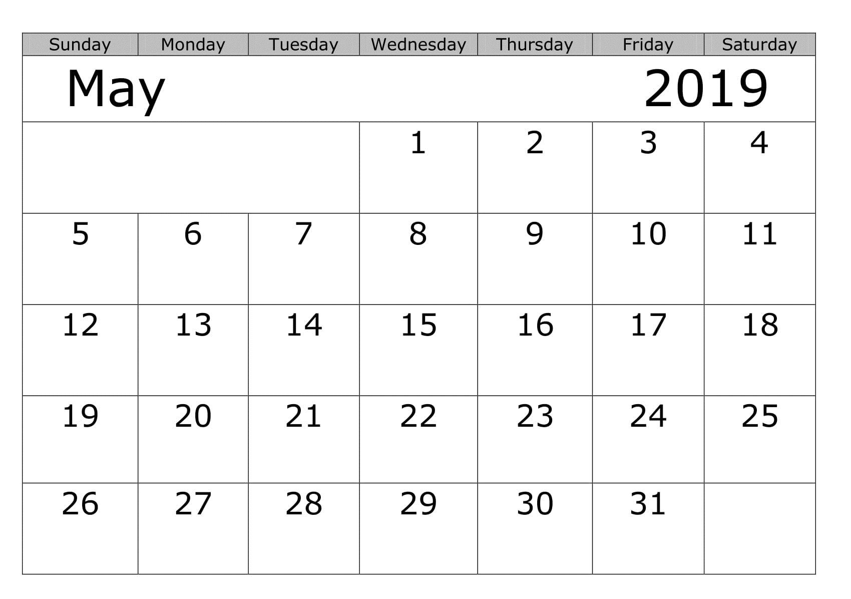 Blank May 2019 Editable Calendar