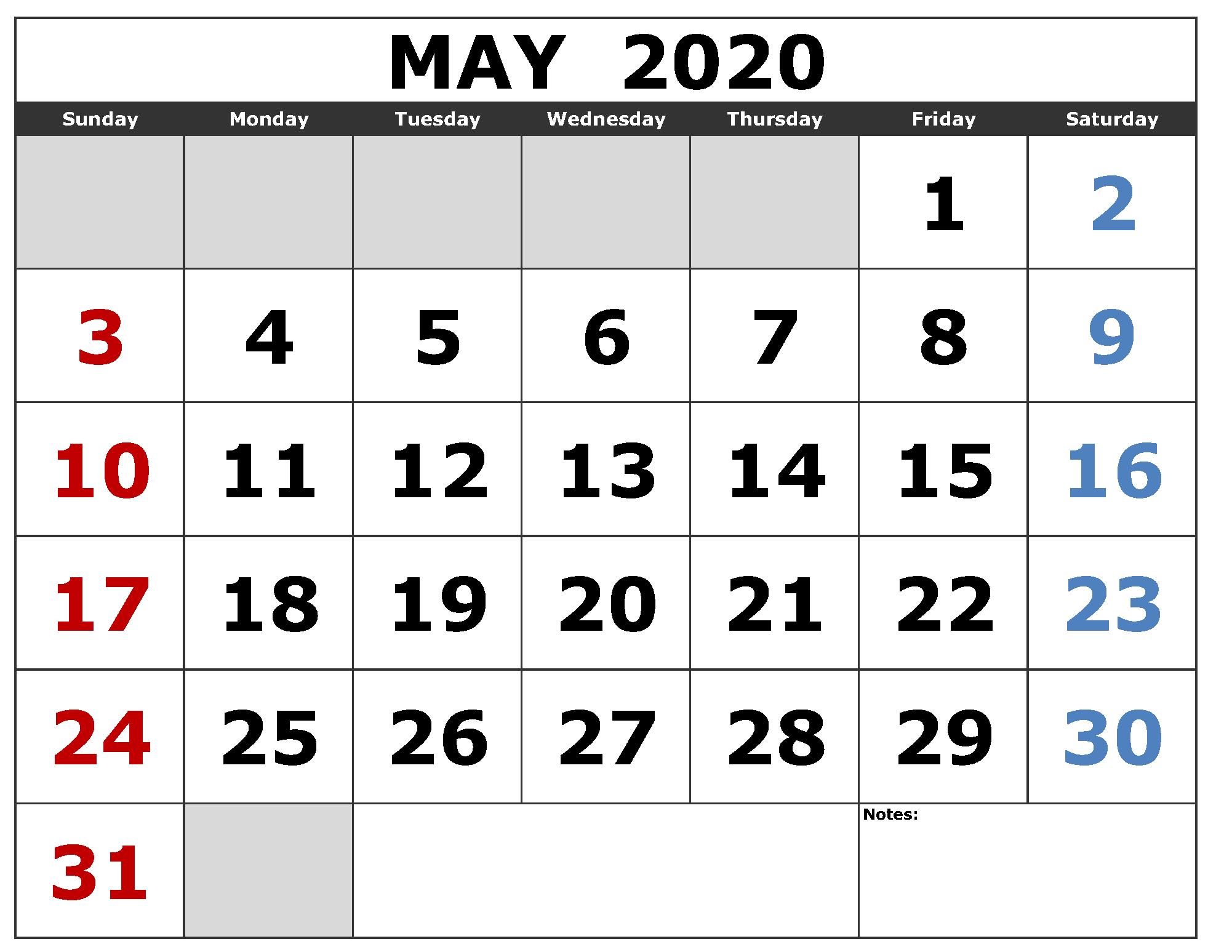 Calendar 2020 May Canada