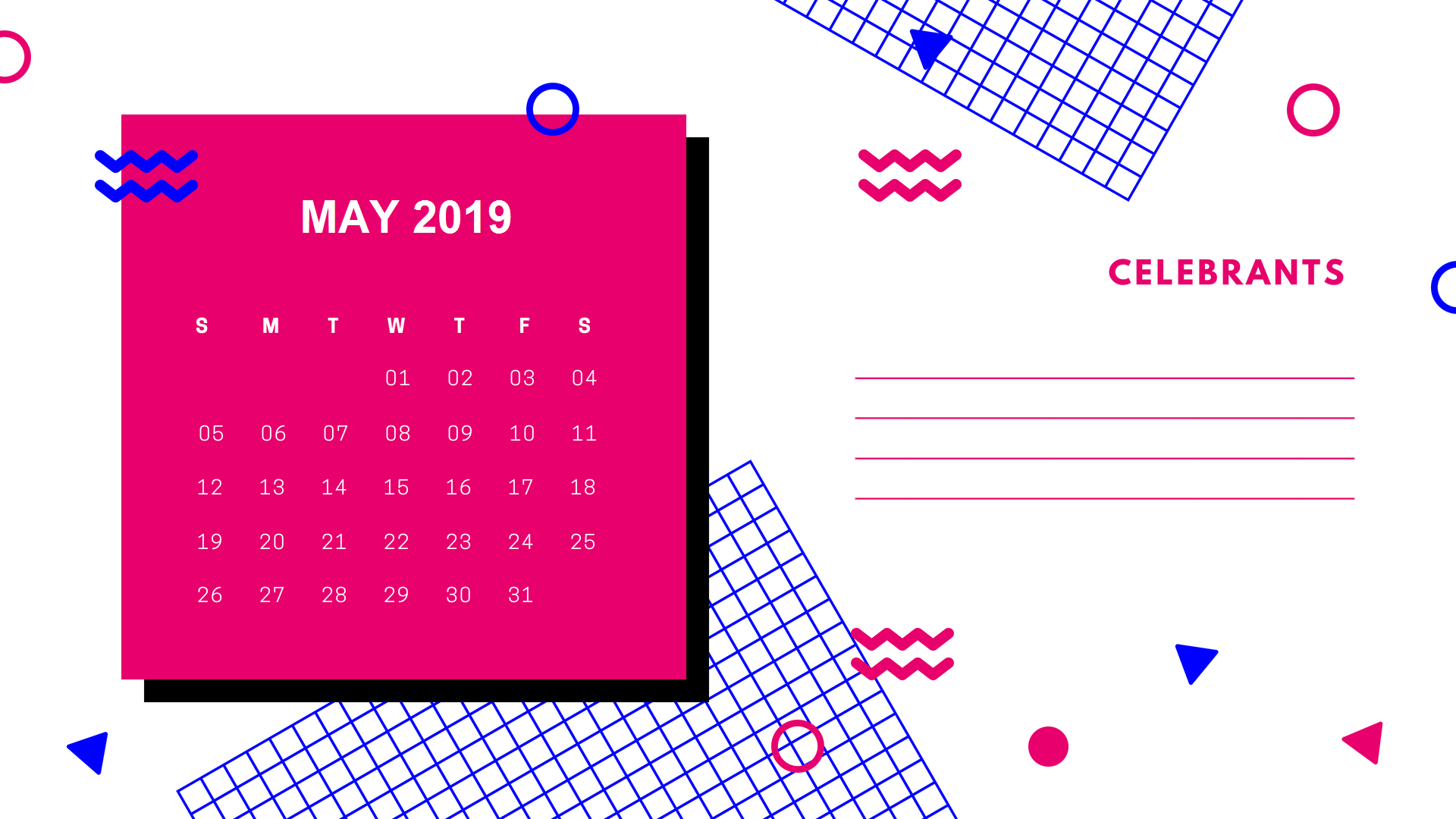 Cute May 2019 Calendar