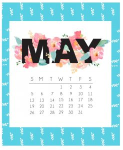 Cute May 2019 Floral Wall Calendar