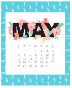 Cute May 2019 Floral Wall Calendar