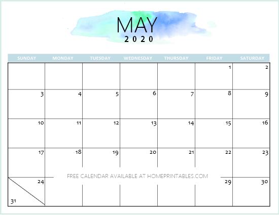 Cute May 2020 Calendar Printable