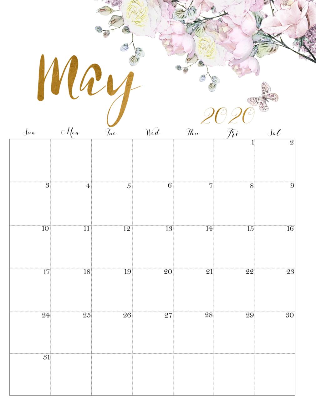 Cute May 2020 Floral Calendar