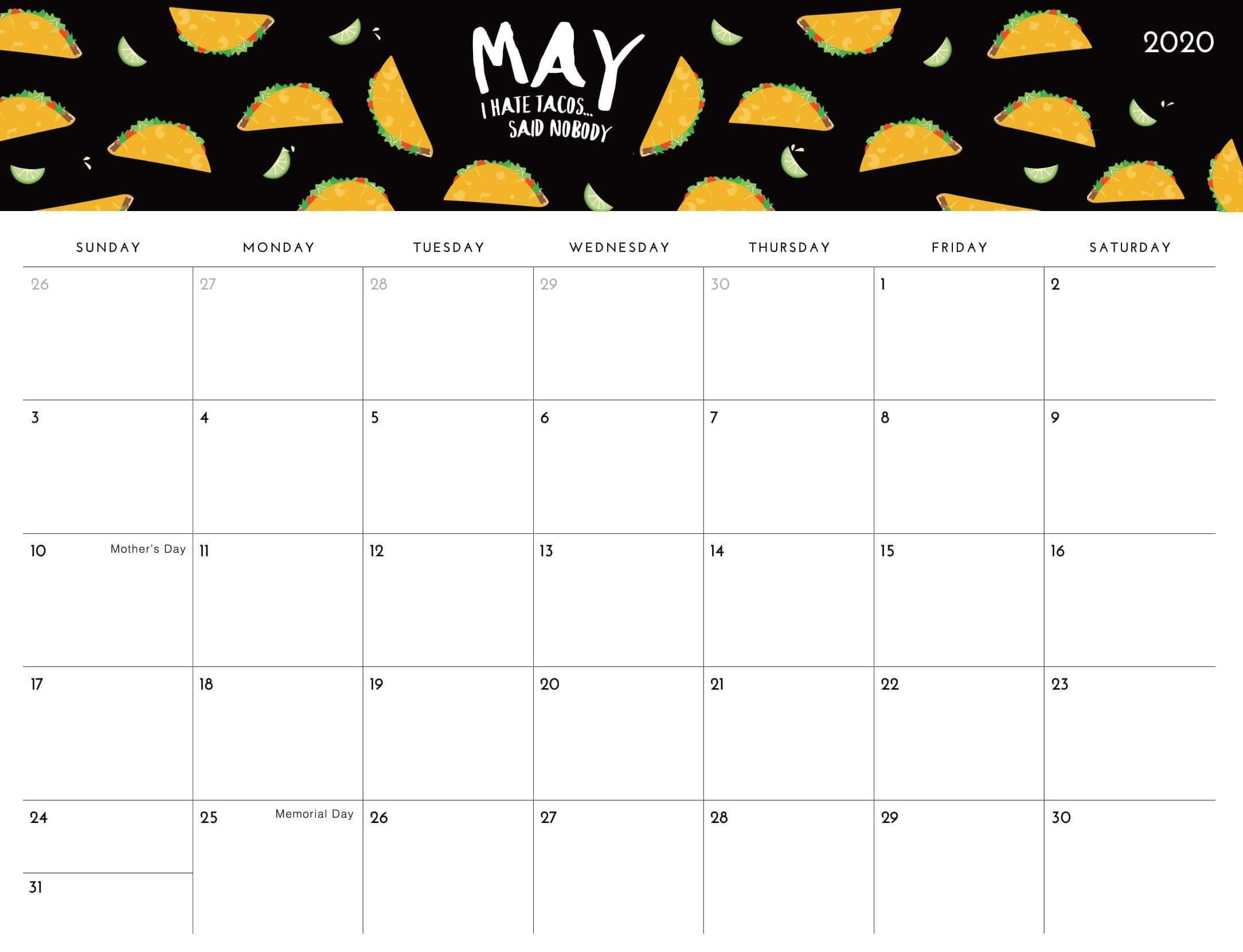 Decorative May 2020 Calendar Template