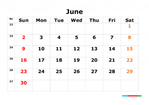 Download June Calendar Template 2019