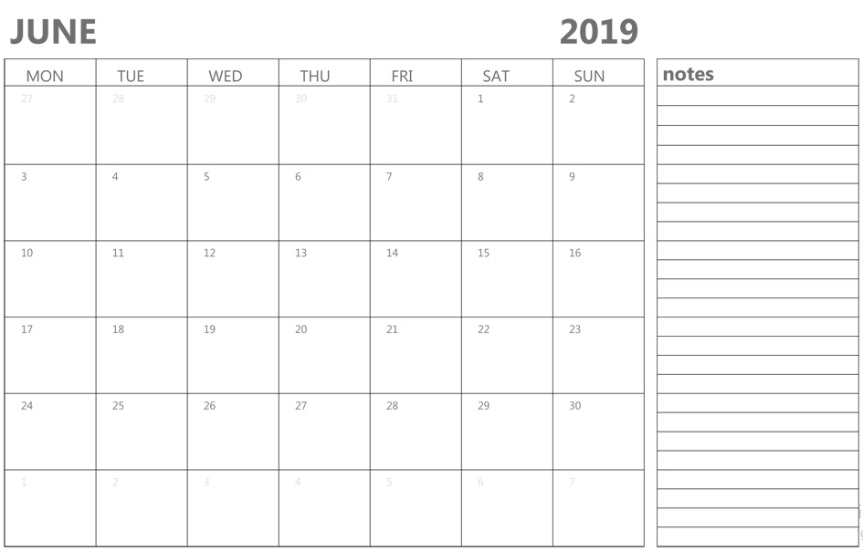 Editable June Calendar 2019 with Notes