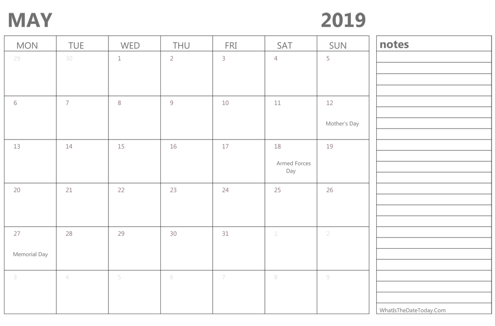 Editable May 2019 Calendar With Notes