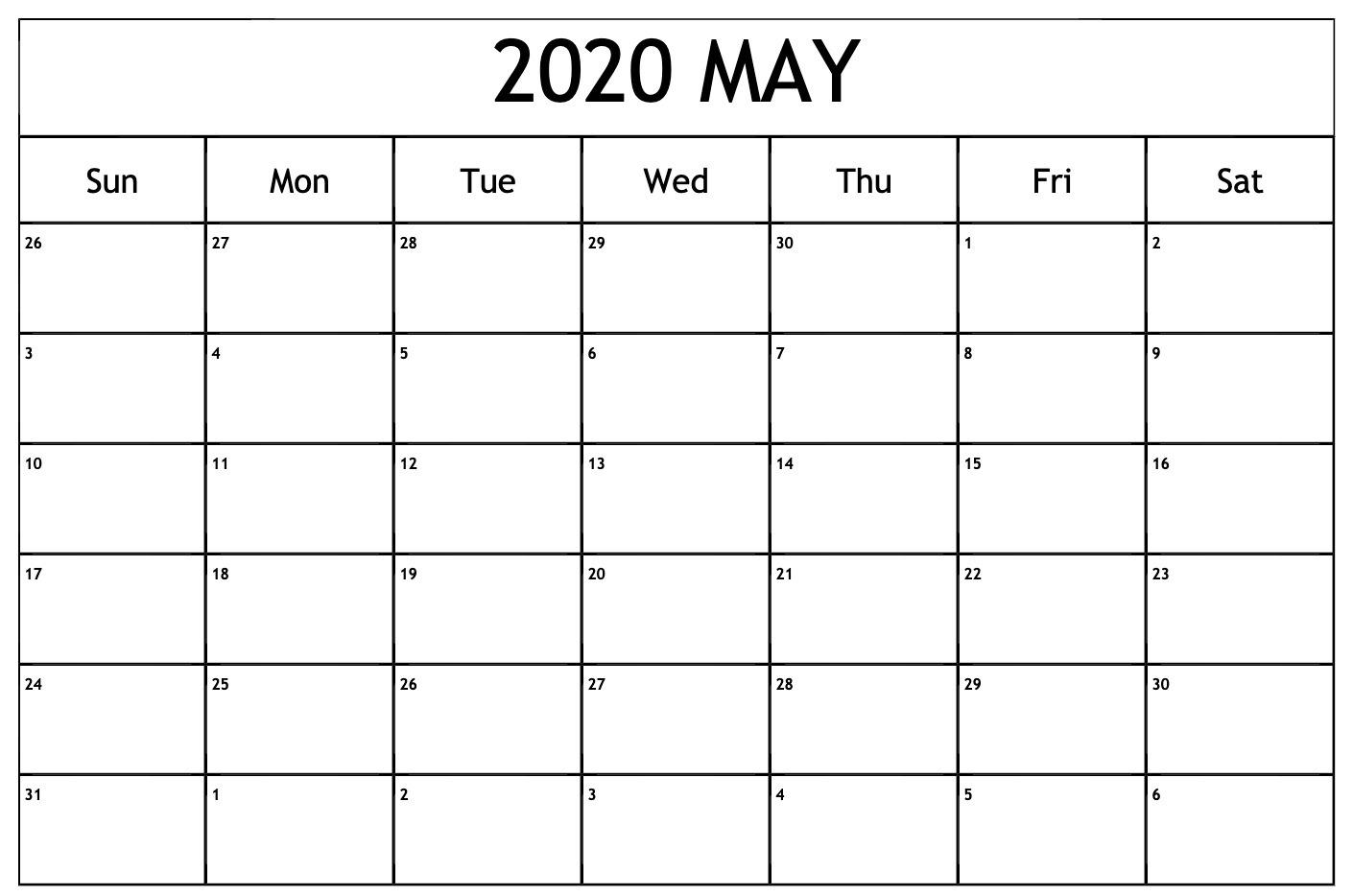 Editable May 2020 Calendar Blank Templates