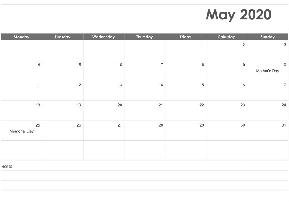 Editable May 2020 Calendar Printable