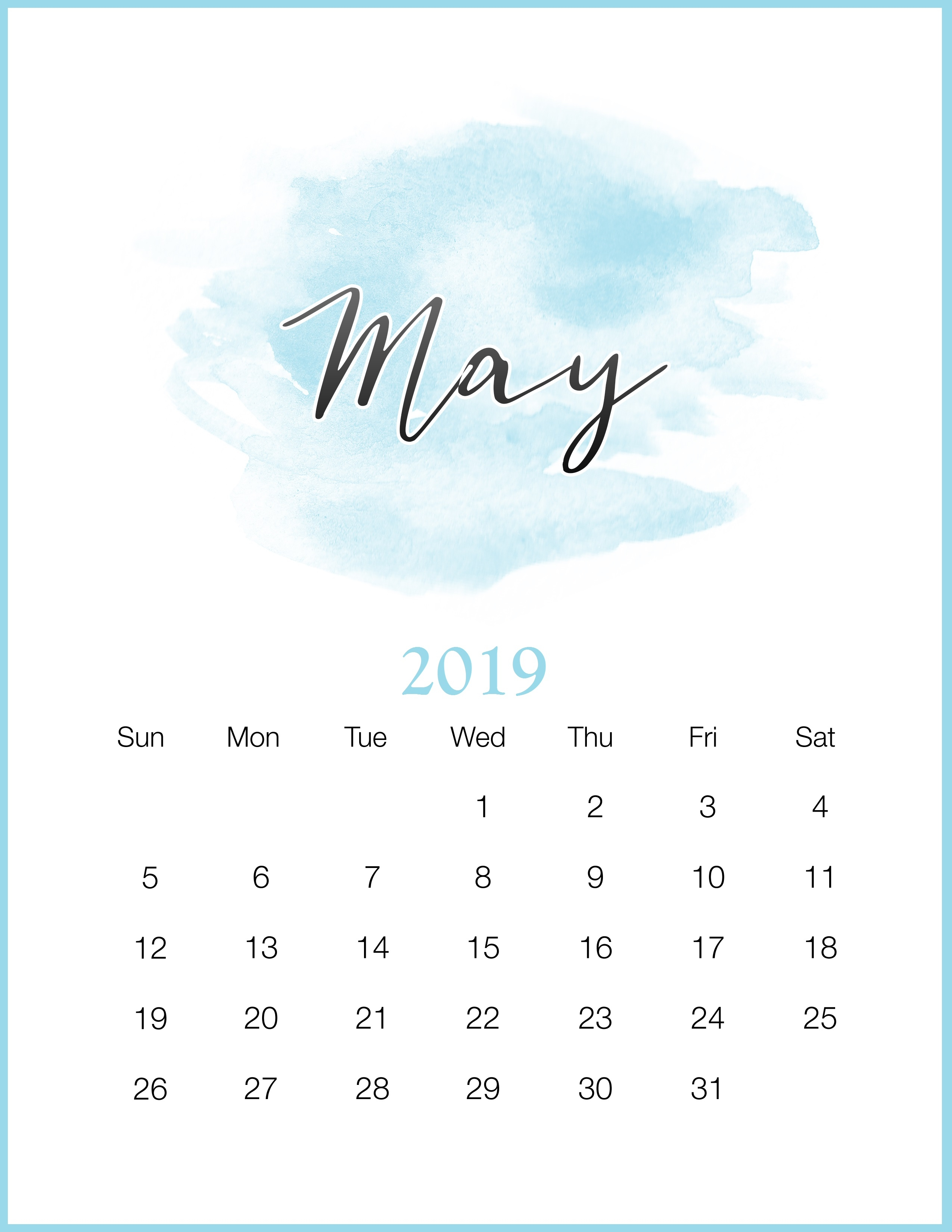 Excel Cute May 2019 Calendar
