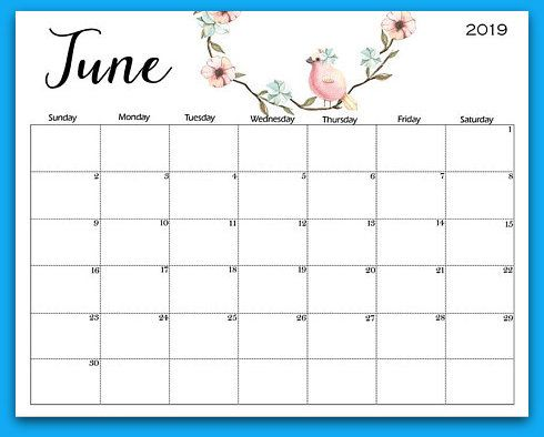 picture about Printable June Calendar named June Calendar 2019 Printable PDF Phrase Template Totally free