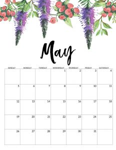Floral May 2019 Calendar Template
