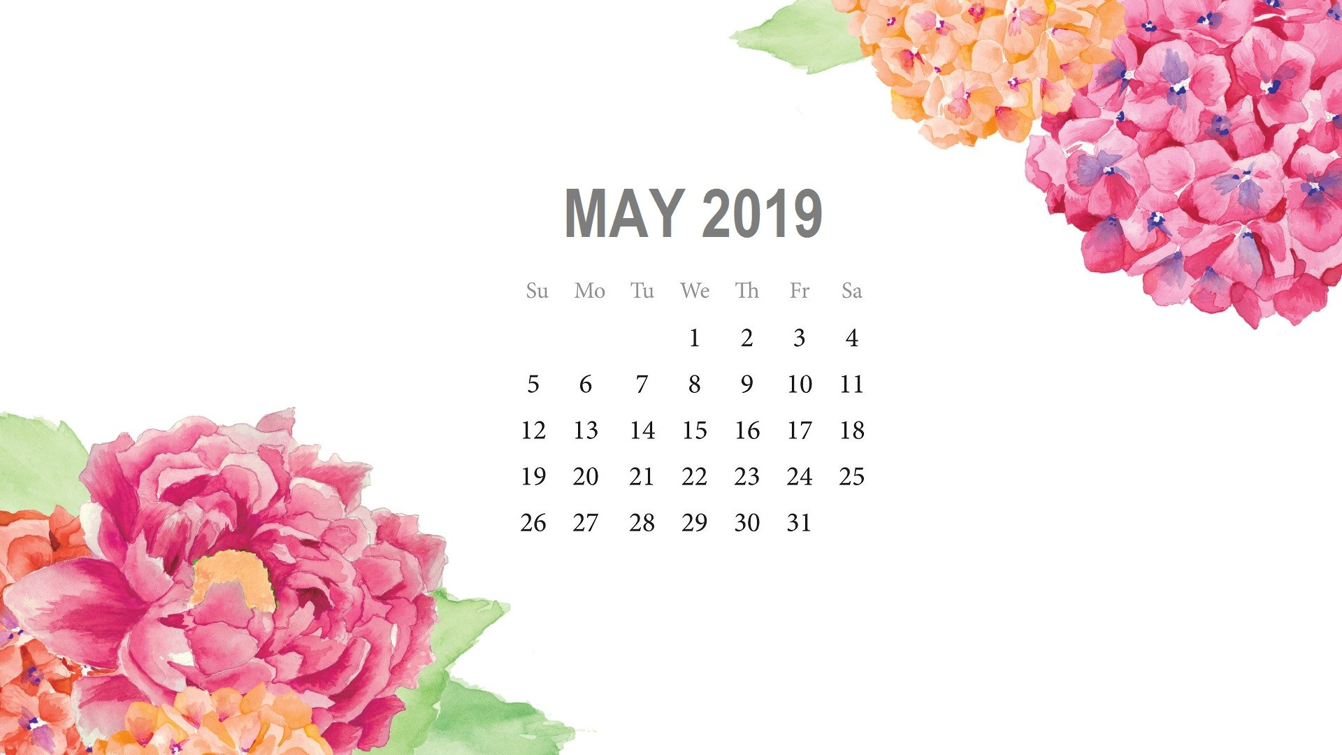Floral May 2019 Calendar Wallpaper Cute Design