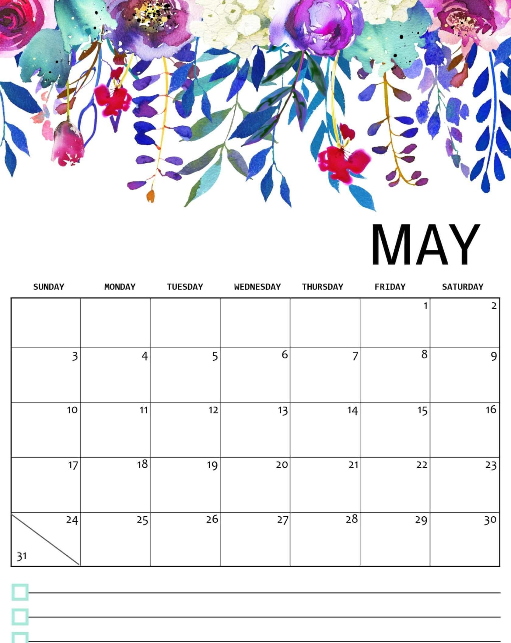 Floral May 2020 Wall Calendar