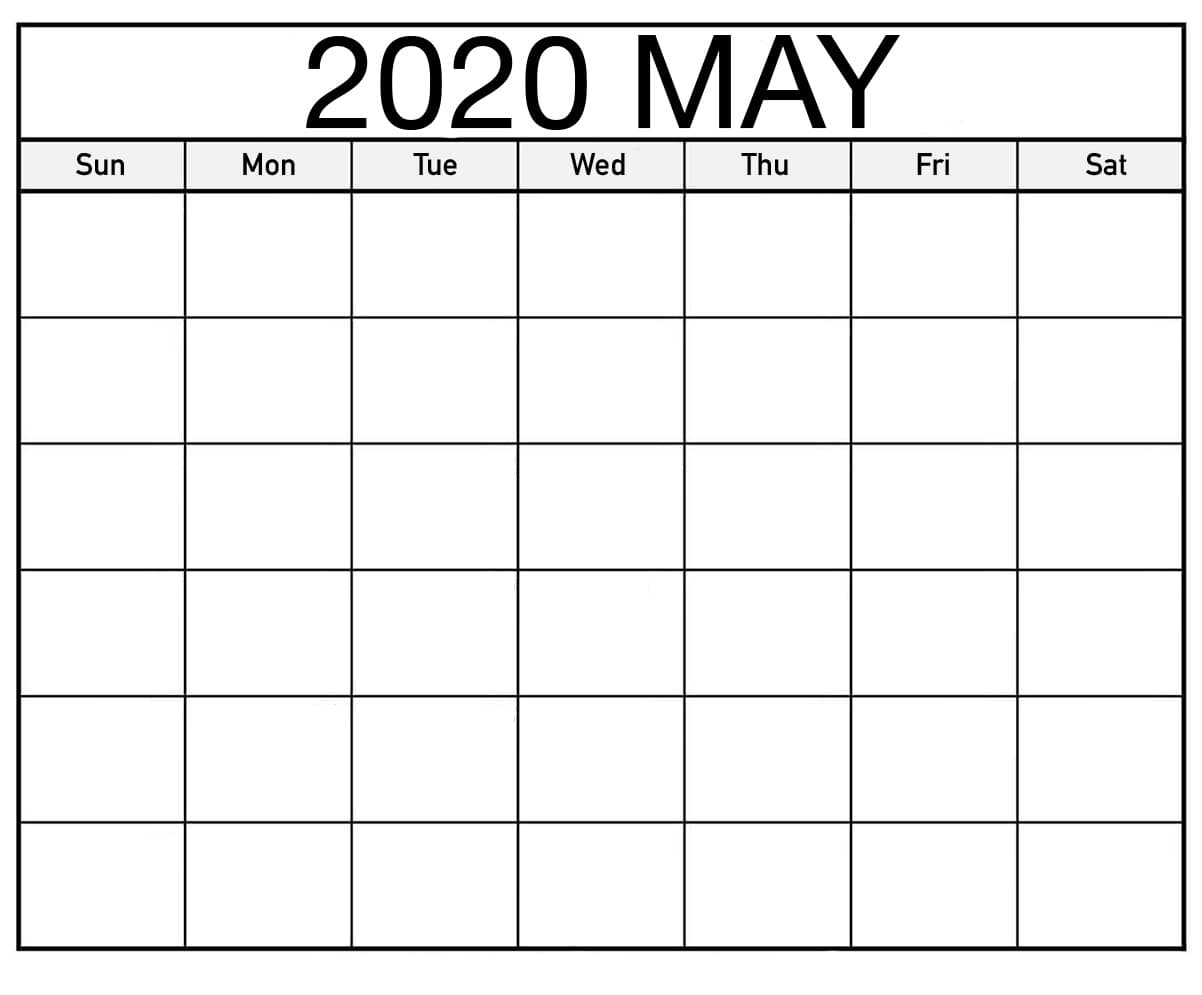 Free Blank May 2020 Calendar