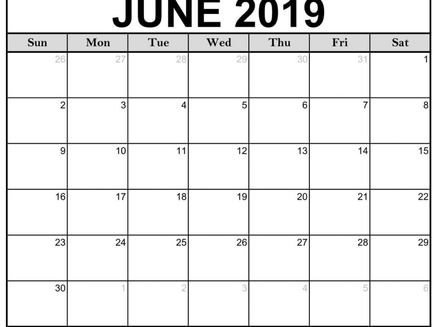 June Calendar 2019 Printable PDF Word Template Free