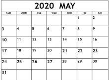 Free Printable Blank May 2020 Calendar