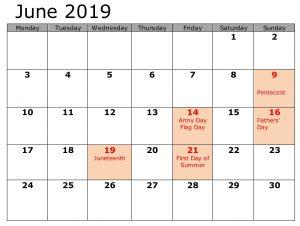 Holidays Calendar For June 2019