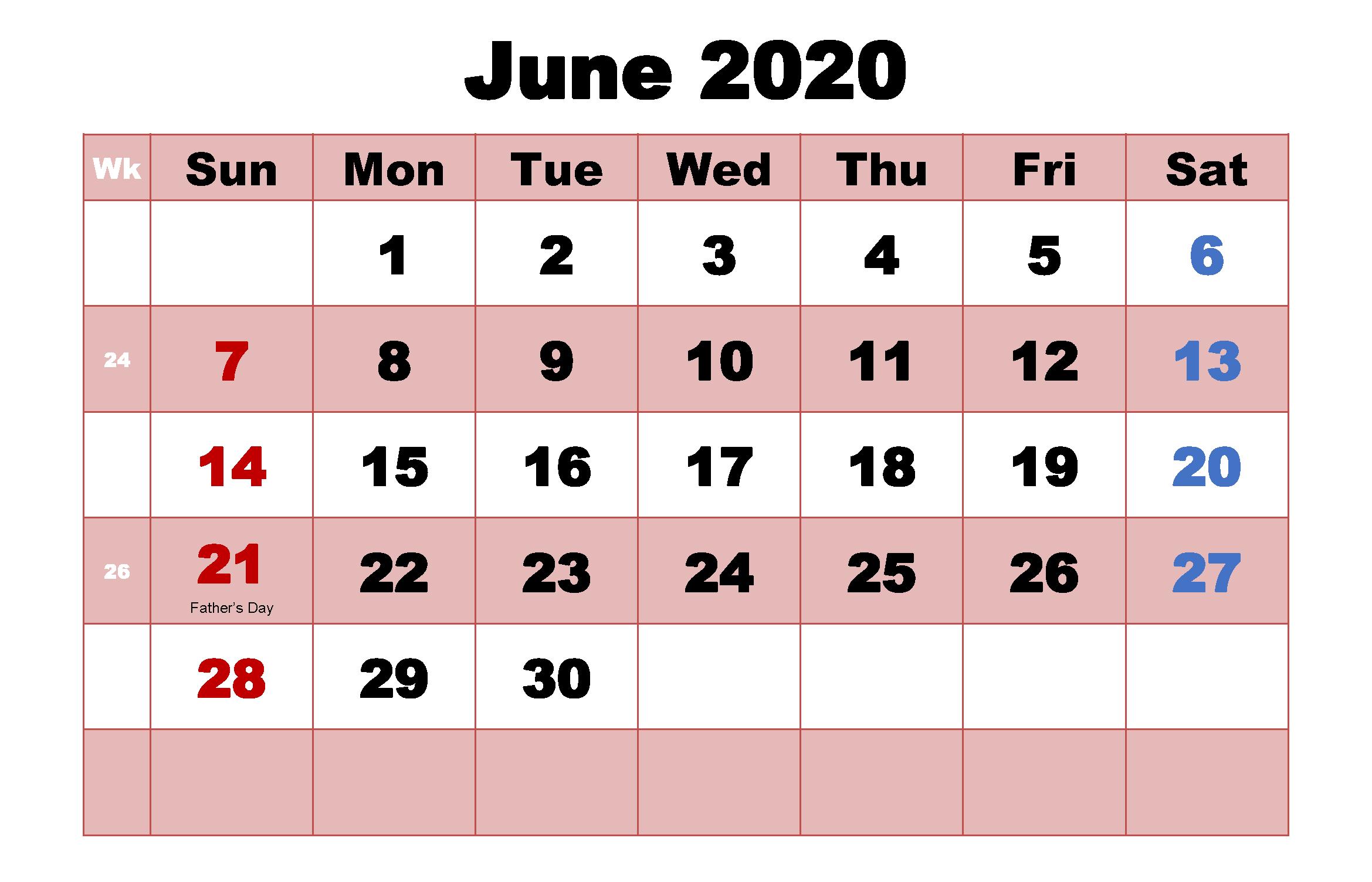 Holidays Calendar Template June 2020