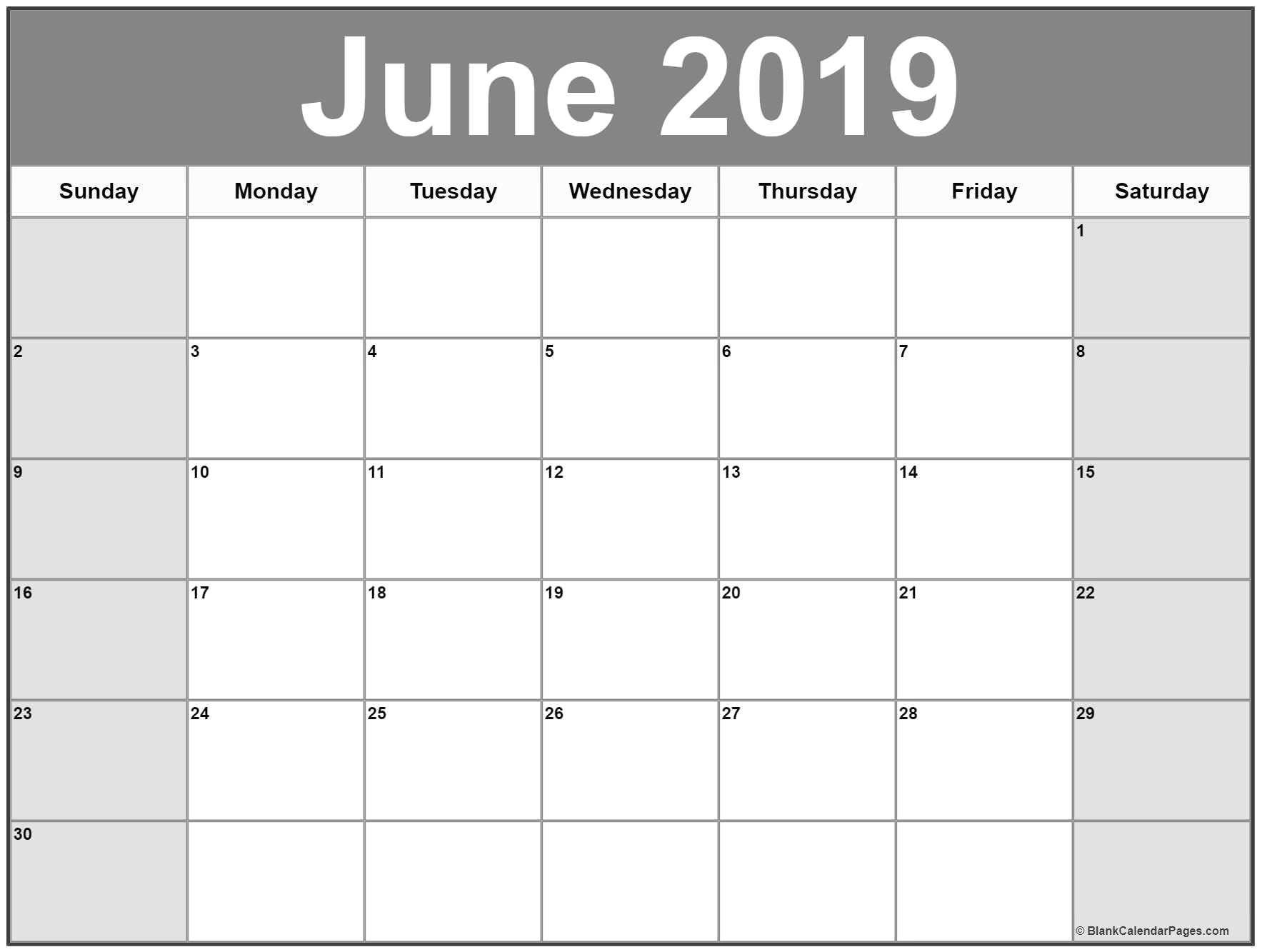June 2019 Blank Calendar Template Free Printable Calendar