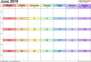 June 2019 Calendar Template Excel