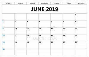 June 2019 Calendar Template Word