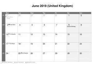 June 2019 Calendar UK Public Holidays