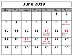 June 2019 Calendar With Holidays Canada