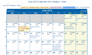 June 2019 Calendar With Holidays India