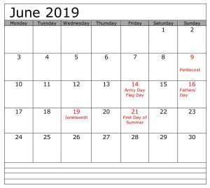 June 2019 Calendar With Holidays USA