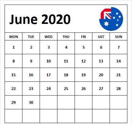 June 2020 Australia Holidays Calendar