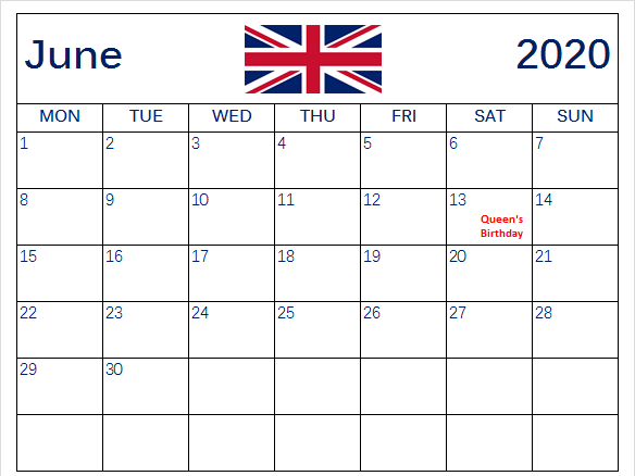 June 2020 Calendar With Holidays United Kingdom