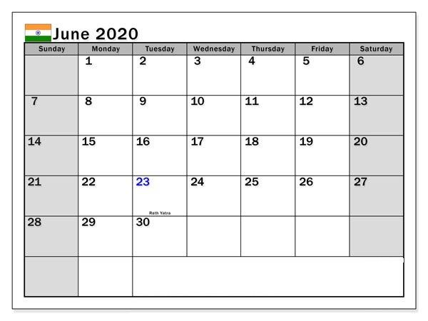 June 2020 Calendar with Holidays India
