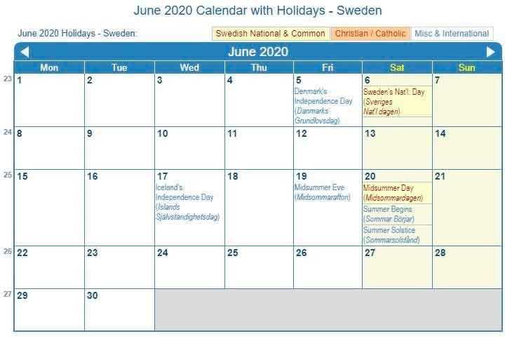 June 2020 Calendar With Holidays Sweden