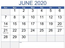 June 2020 Holidays Calendar Template