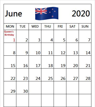 June 2020 New Zealand Holidays Calendar