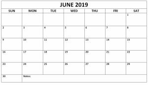 June Calendar 2019 Word