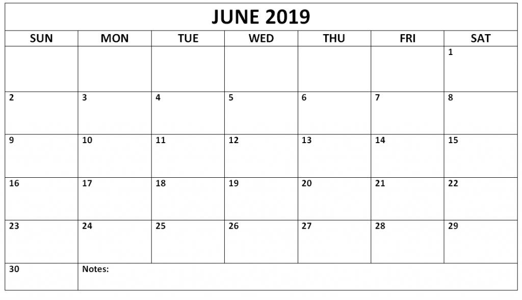 June Calendar 2019 Printable Pdf Word Template Free