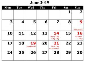 June Calendar With Holidays