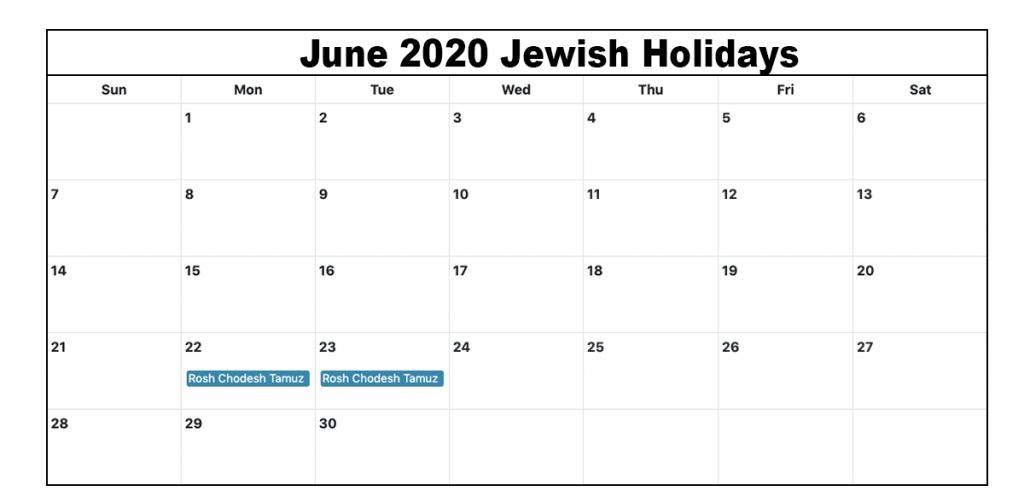 June 2020 Jewish Holidays