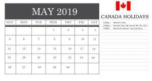 May 2019 Calendar Canada