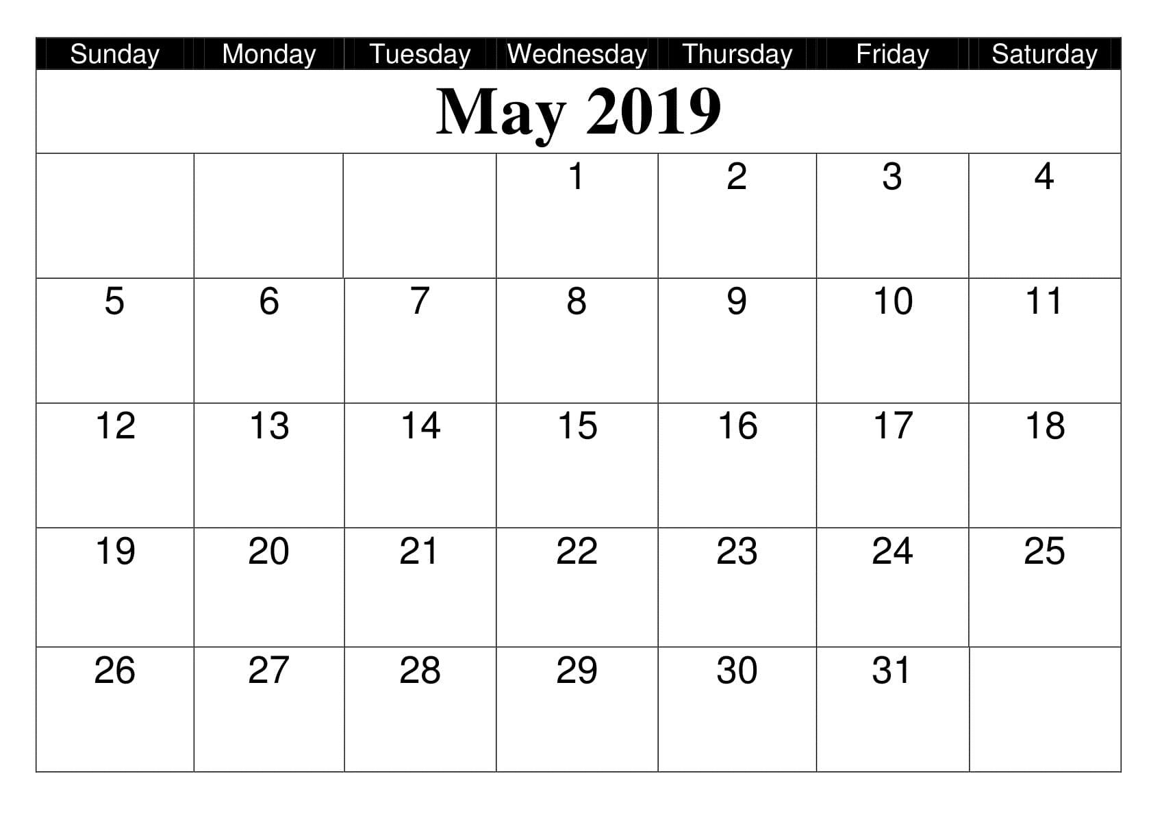 May 2019 Calendar Editable Printable