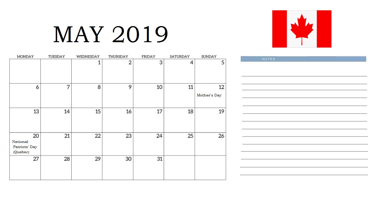 May 2019 Calendar Canada Printable with Holidays