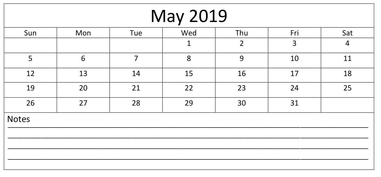 May 2019 Calendar Printable Editable